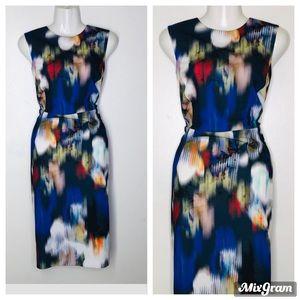 Calvin Klein water wash Art print A line Dress 14W